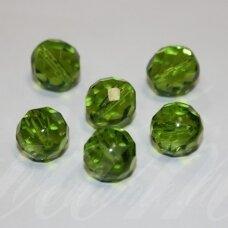 stkb00148-12 apie 12 mm, apvali forma, briaunuotas, žalia spalva, stiklinis karoliukas, 9 vnt.