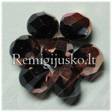 stkb00153-07 apie 7 mm, apvali forma, briaunuotas, marga, stiklinis karoliukas, apie 48 vnt.