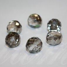 stkb00155-14 apie 14 mm, apvali forma, briaunuotas, skaidrus, blizgi danga, stiklinis karoliukas, 6 vnt.