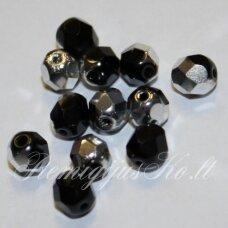 stkb00170-08 apie 8 mm, apvali forma, briaunuotas, marga, juoda spalva, metalo spalva, 20 vnt.