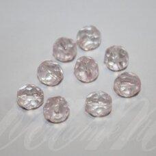 stkb00174-08 apie 8 mm, apvali forma, skaidrus, rožinis atspalvis, stiklinis karoliukas, apie 26 vnt.