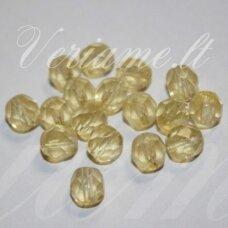 stkb00186-06 apie 6 mm, apvali forma, briaunuotas, skaidrus, geltona spalva, stiklinis karoliukas, apie 52 vnt.