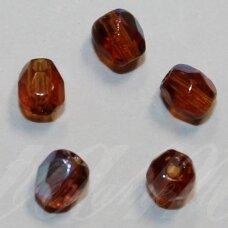stkb00192-04 apie 4 mm, apvali forma, briaunuotas, skaidrus, ruda spalva, ab danga, stiklinis karoliukas, apie 70 vnt.