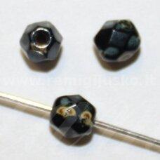 stkb00202-08 apie 8 mm, apvali forma, briaunuotas, juoda spalva, marga, stiklinis karoliukas, 32 vnt.