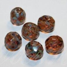 stkb00203-10 apie 10 mm, apvali forma, briaunuotas, marga, stiklinis karoliukas, 17 vnt.