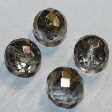 stkb00208-14 apie 14 mm, apvali forma, briaunuotas, skaidrus, pusiau dengta auksinė spalva, blizgi danga, stiklinis karoliukas, 6 vnt.