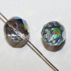 stkb00214-06 apie 6 mm, apvali forma, briaunuotas, skaidrus, marga, ab danga, stiklinis karoliukas, 46 vnt.