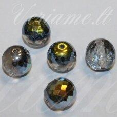 stkb00216-14 apie 14 mm, apvali forma, briaunuotas, skaidrus, ab danga, stiklinis karoliukas, 5 vnt.