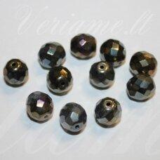 STKB00217-10 apie 10 mm, apvali forma, briaunuotas, marga, stiklinis karoliukas, 13 vnt.