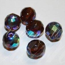stkb00231/28701-12 apie 12 mm, apvali forma, briaunuotas, tamsi, ruda spalva, ab danga, stiklinis karoliukas, 8 vnt.