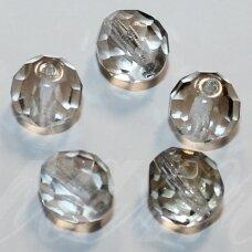 stkb00235-10 apie 10 mm, apvali forma, briaunuotas, skaidrus, dūminis atspalvis, ab danga, stiklinis karoliukas, 17 vnt.