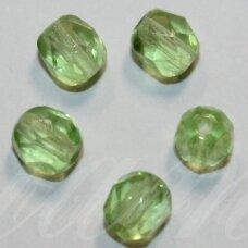 stkb00261-05 apie 5 mm, apvali forma, briaunuotas, skaidrus, šviesi, žalia spalva, stiklinis karoliukas, apie 80 vnt.