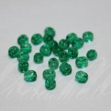 stkb00272-04 apie 4 mm, apvali forma, briaunuotas, skaidrus, žalia spalva, stiklinis karoliukas, apie 124 vnt.