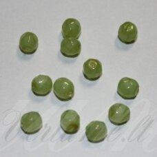 stkb00285-04 apie 4 mm, apvali forma, briaunuotas, salotinė spalva, stiklinis karoliukas, 80 vnt.
