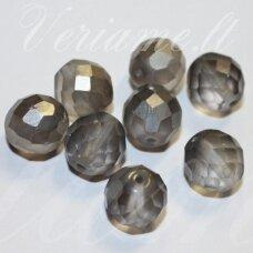 stkb00289-12 apie 12 mm, apvali forma, briaunuotas, matinė, pilka spalva, stiklinis karoliukas, 8 vnt.