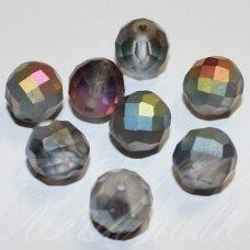 stkb00293-12 apie 12 mm, apvali forma, briaunuotas, matinė, ab danga, stiklinis karoliukas, 8 vnt.