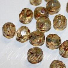 stkb00294-10 apie 10 mm, apvali forma, briaunuotas, ruda spalva, stiklinis karoliukas, 42 vnt.