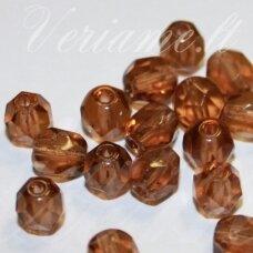 stkb00296-06 apie 6 mm, apvali forma, briaunuotas, skaidrus, ruda spalva, stiklinis karoliukas, 46 vnt.