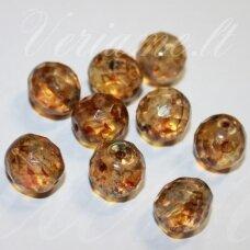 stkb00297-12 apie 12 mm, apvali forma, briaunuotas, skaidrus, gintaro spalva, stiklinis karoliukas, 9 vnt.