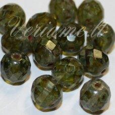 stkb00301-08 apie 8 mm, apvali forma, briaunuotas, skaidrus, žalia spalva, marga, stiklinis karoliukas, 32 vnt.