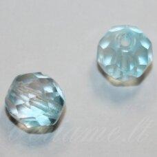 stkb00333-08 apie 8 mm, apvali forma, briaunuotas, skaidrus, žydra spalva, stiklinis karoliukas, apie 28 vnt.