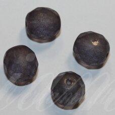 stkb00334-10 apie 10 mm, apvali forma, briaunuotas, skaidrus, pilka spalva, stiklinis karoliukas, 15 vnt.