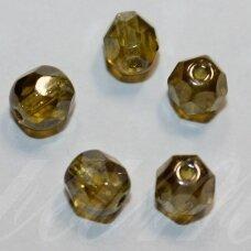 stkb00340-06 apie 6 mm, apvali forma, briaunuotas, skaidrus, samaninė spalva, stiklinis karoliukas, apie 53 vnt.