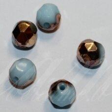 stkb00345-06 apie 6 mm, apvali forma, briaunuotas, žydra spalva, vario spalva, stiklinis karoliukas, apie 39 vnt.