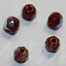 stkb00353-04 apie 4 mm, apvali forma, briaunuotas, ruda spalva, ab danga, stiklinis karoliukas, apie 68 vnt.