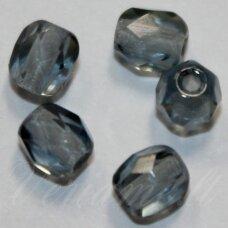 stkb00357-04 apie 4 mm, apvali forma, briaunuotas, skaidrus, pilka spalva, stiklinis karoliukas, apie 93 vnt.