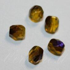 stkb00360-04 apie 4 mm, apvali forma, briaunuotas, skaidrus, geltona spalva, stiklinis karoliukas, apie 77 vnt.