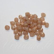 STKB00362-04 apie 4 mm, apvali forma, briaunuotas, kreminė - ruda spalva, stiklinis karoliukas, 87 vnt.