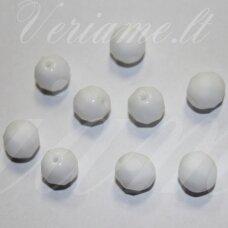 stkb02010-06 apie 6 mm, apvali forma, briaunuotas, balta spalva, stiklinis karoliukas, apie 55 vnt.