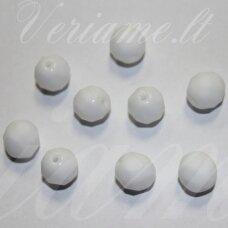 stkb02010-10 apie 10 mm, apvali forma, briaunuotas, balta spalva, stiklinis karoliukas, 17 vnt.