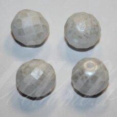stkb02010/56901-06 apie 6 mm, apvali forma, briaunuotas, balta spalva, stiklinis karoliukas, 44 vnt.