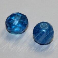 STKB02010/56936-10 apie 10 mm, apvali forma, briaunuotas, mėlyna spalva, stiklinis karoliukas, 11 vnt.