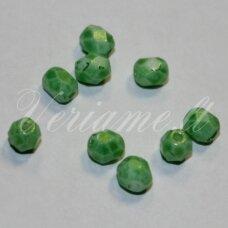 stkb02010/56953-04 apie 4 mm, apvali forma, briaunuotas, salotinė spalva, stiklinis karoliukas, apie 70 vnt.