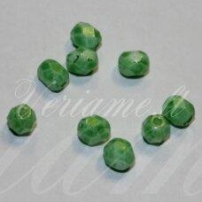 stkb02010/56953-06 apie 6 mm, apvali forma, briaunuotas, salotinė spalva, stiklinis karoliukas, apie 41 vnt.