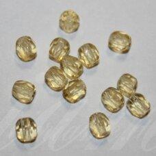 stkb10010-06 apie 6 mm, apvali forma, briaunuotas, skaidrus, geltona spalva, stiklinis karoliukas, 40 vnt.