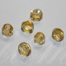stkb10010/28701-05 apie 5 mm, apvali forma, briaunuotas, skaidrus, geltona spalva, ab danga, stiklinis karoliukas, apie 44 vnt.