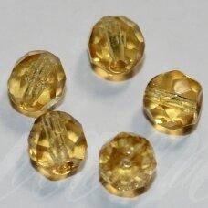 STKB10020-05 apie 5 mm, apvali forma, briaunuotas, šviesi, gelsva spalva, stikliniai karoliukai, apie 80 vnt.