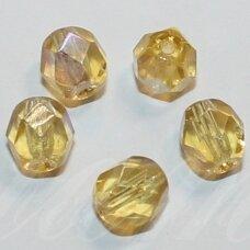 stkb10020/28701-04 apie 4 mm, apvali forma, briaunuotas, skaidrus, geltona spalva, ab danga, stiklinis karoliukas, apie 110 vnt.