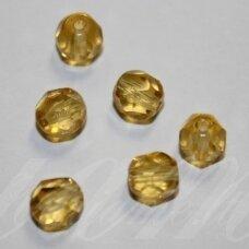 STKB10030-08 apie 8 mm, apvali forma, briaunuotas, skaidrus, geltona spalva, stikliniai karoliukai, apie 30 vnt.