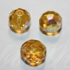 STKB10030/28701-10 apie 10 mm, apvali forma, briaunuotas, skaidrus, geltona spalva, stiklinis karoliukas, AB danga, apie 15 vnt.