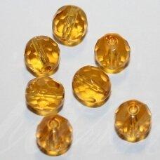 STKB10040-10 apie 10 mm, apvali forma, briaunuotas, skaidrus, geltona spalva, stiklinis karoliukas, apie 14 vnt.