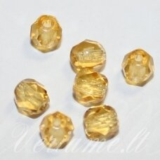 stkb10050-04 apie 4 mm, apvali forma, briaunuotas, skaidrus, geltona spalva, stiklinis karoliukas, apie 84 vnt.