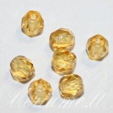stkb10050-06 apie 6 mm, apvali forma, briaunuotas, skaidrus, geltona spalva, stiklinis karoliukas, apie 52 vnt.