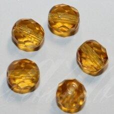STKB10060-07 apie 7 mm, apvali forma, briaunuotas, šviesaus gintaro spalva, stikliniai karoliukai, apie 50 vnt.