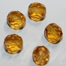 STKB10060-10 apie 10 mm, apvali forma, briaunuotas, šviesaus gintaro spalva, stikliniai karoliukai, 14 vnt.