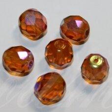 stkb10060/28701-04 apie 4 mm, apvali forma, briaunuotas, skaidrus, šviesi, ruda spalva, ab danga, stiklinis karoliukas, apie 83 vnt.